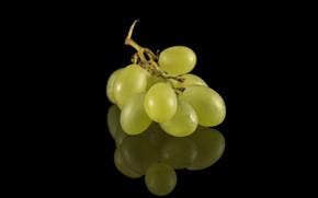 Картинка белый, виноград, чёрный фон