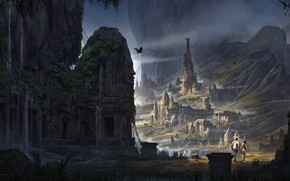 Картинка горы, город, люди, птица, храм, temple mountain, cite perdue