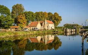 Обои Гуре-Оверфлакке, дома, остров, отражение, канал, Нидерланды