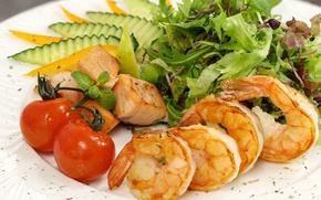 Картинка овощи, салат, креветки