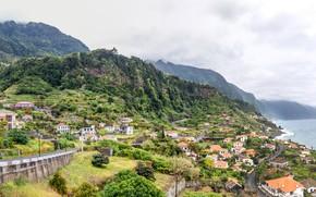 Картинка море, лес, облака, горы, скалы, побережье, дома, склон, панорама, Португалия, Madeira, Ponta do Sol