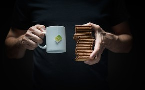 Обои Pile, Breakfast, Biscuit, Tea, Arms, Man