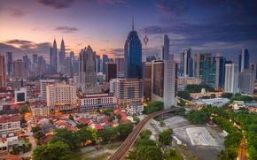 Обои панорама, дома, Куала-Лумпур, Малайзия, башня, небоскреб
