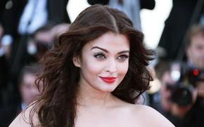 Картинка девушка, макияж, актриса, красавица, girl, sexy, Aishwarya Rai, eyes, beautiful, model, beauty, lips, face, hair, …