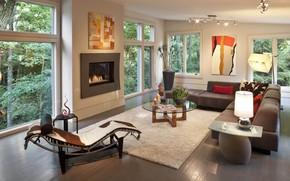 Картинка стол, мебель, окна, камин, особняк, гостиная