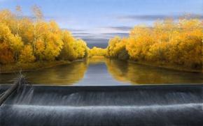 Картинка осень, небо, водопад, бревно, жёлтые листья, Волков Александр, October Evening