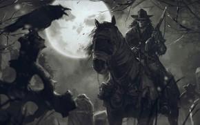 Картинка ночь, оружие, череп, Луна, кладбище, всадник, мертвец