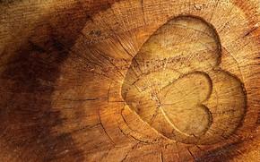 Картинка дерево, сердце, древесина