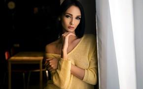 Обои Sergey Zhirnov, depth of field, lips, portrait, model, long hair, looking at camera, black nails, ...