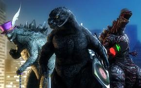 Картинка город, рендеринг, юмор, чудовище, Godzilla, годзилла, Gojira