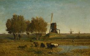 Картинка деревья, ручей, картина, Поль Жозеф Константин Габриэль, Пейзаж с тремя Ветряными Мельницами