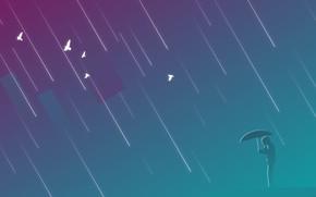Обои man, лазурно-серый, приглушение, прямоугольник, umbrella, зонт, дождь, фиолетовый, человек, птицы, rain