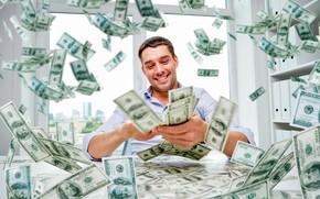 Картинка радость, счастье, стол, деньги, окно, мужчина, доллары, купюры