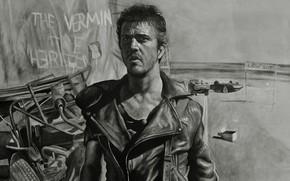 Картинка рисунок, Mel Gibson, Воин дороги, Мел Гибсон, Mad Max 2, Безумный Макс 2