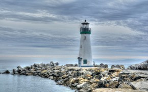 Обои США, побережье, Walton Lighthouse, Santa Cruz, маяк