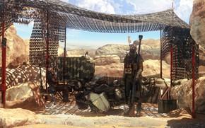 Картинка камни, навес, страж, Desert Patrol
