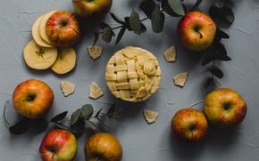 Картинка яблоки, пирог, корица, десерт, выпечка, ваниль, Apples