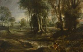Картинка деревья, картина, Питер Пауль Рубенс, Pieter Paul Rubens, Вечерний Пейзаж с Телегой