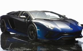 Картинка машина, вода, синий, фон, Lamborghini, автомобиль