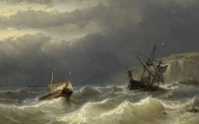 Картинка дерево, корабль, масло, картина, морской пейзаж, Луис Мейер, Шторм в Па-де-Кале