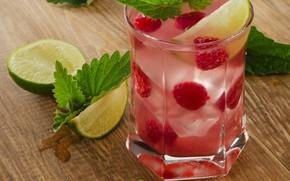 Картинка lemon, ice, напиток, лимонад, drink, raspberry
