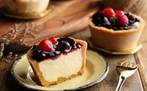 Обои десерт, пирожное, начинка, ягоды