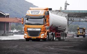 Картинка дорога, оранжевый, DAF, цистерна, седельный тягач, ДАФ, самосвал, полуприцеп, 6х2, Euro6, DAF CF 440