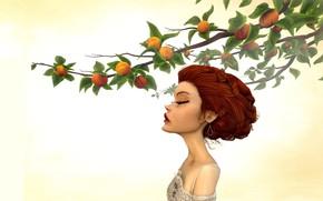 Картинка девушка, ветка, сад, персики, Jason Knight, Last Morning of Spring