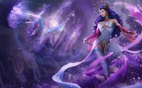 Картинка девушка, магия, волосы, платье, арт, прическа, красавица, маг, посох, волшебник, Lana Solaris