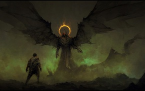 Картинка demon, devil, wings, man, hood, oni, Fake Angels, ageln