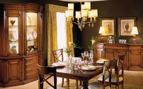Картинка стол, мебель, интерьер, люстра, картины, столовая, сервировка