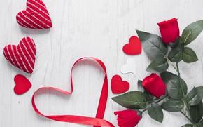 Картинка Цветы, Любовь, Сердечки, Розы, Праздник, День влюбленных