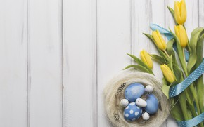 Картинка праздник, весна, Пасха, лента, тюльпаны, wood, декор, Easter, eggs, bouquet