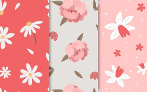 Картинка цветы, ромашки, текстура, pink, patterns, пионы, spring