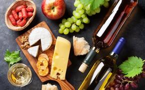 Обои яблоко, сыр, доска, виноград, мед, вино