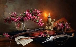 Картинка цветы, ноты, перо, скрипка, свеча, ваза