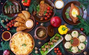 Картинка баклажаны, мясо, помидоры, ассорти, кинза, долма, хинкали, хачапури, грузинская кухня, харчо