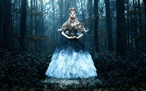 Картинка лес, девушка, платье, Bella Kotak, Daughter of Spring