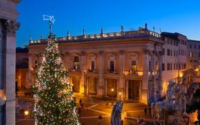 Картинка огни, праздник, игрушки, новый год, дома, рождество, вечер, площадь, Рим, фонари, Италия, ёлка, архитектура, гирлянды, …