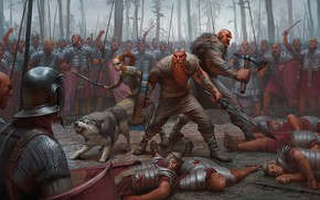 Картинка лес, оружие, бой, воин, доспех, варвар, Легионер
