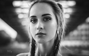 Картинка девушка, крупный план, лицо, портрет, макияж, прическа, черно-белое, косички, красивая, боке, Patrycja, Michał Treutler