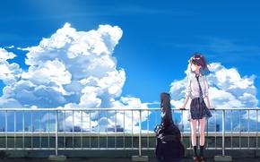 Картинка небо, девушка, облака, гитара, аниме, арт, галстук, форма, школьница