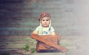 Картинка мальчик, малыш, пилот, ящик