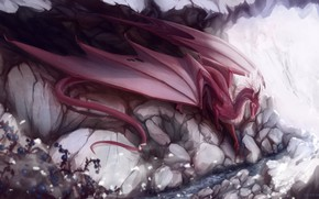 Картинка скала, камни, дракон