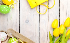Обои Пасха, тюльпаны, yellow, wood, tulips, spring, Easter, eggs, decoration, Happy, tender, pastel