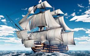 Картинка море, волны, небо, облака, корабль, парусник, паруса, мачты, 3D Графика