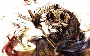 Картинка кровь, катана, лезвие, бинты, раненный, безумец, Rurouni Kenshin, Бродяга Кенсин, самурай икс, Shishio