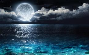 Обои ночь, луна, море