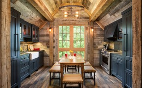 Обои Wood-Paneled, Bunk House, Northern Wisconsin, Kitchen