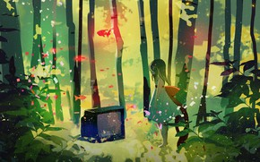 Обои рыбки, сияние, магия, босиком, платье, телевизор, девочка, бант, березовая роща, одна в лесу